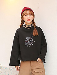 Women's Casual/Daily Sweatshirt Letter Stand strenchy Cotton Long Sleeve