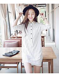 Feminino Túnicas Vestido,Casual Simples Listrado Colarinho de Camisa Mini Manga Longa Poliéster Primavera Cintura Média Sem Elasticidade