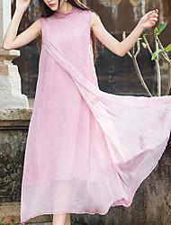 Damen Swing Kleid-Strand Solide Rundhalsausschnitt Maxi Ärmellos Seide Sommer Mittlere Hüfthöhe Mikro-elastisch Dünn
