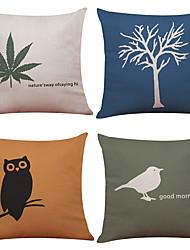 Set of 4 Small Tree Owl Pattern   Linen Pillowcase Sofa Home Decor Cushion Cover