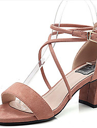 Women's Sandals Spring Summer Fall Club Shoes Comfort Fleece Office & Career Party & Evening Dress Chunky Heel Buckle Nude Gray