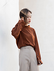 Feminino Camisa Social Casual SimplesSólido Poliéster Colarinho Chinês Manga Longa