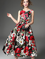 Women's Party Sophisticated A Line Dress,Floral Round Neck Above Knee Sleeveless Rayon Summer Mid Rise Micro-elastic Thin