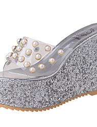 Women's Sandals Comfort PU Summer Outdoor Comfort Wedge Heel Gold Silver 5in & over