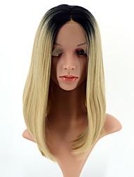 Mujer Pelucas sintéticas Encaje Frontal Corto Liso Negro / Strawberry Blonde Raya en medio Entradas Naturales Corte Bob Peluca natural