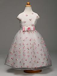 Robe de Soirée Longueur Genou Robe de Demoiselle d'Honneur Fille - Organza Satin Bijoux avec Noeud(s) Broderie Fleur(s) Ceinture / Ruban