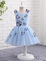 Une robe à rayures en ligne avec une ligne de genou - tulle sans manches en manche avec applique