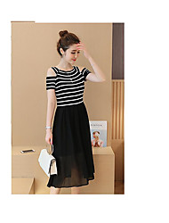 Women's Holiday Sheath Dress,Solid V Neck Above Knee Sleeveless Polyester Summer Low Rise Inelastic Medium