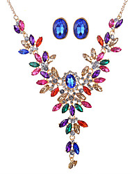 2017 Fashion Luxurious Colorful Gem Rhinestone Water Drop Necklace Earrings Jewelry Sets For Women Wedding Bride Accessories