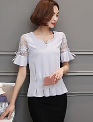 Tee-shirt Femme,Couleur Pleine Sortie simple Manches Courtes Col Arrondi Spandex