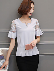 Damen Solide Einfach Ausgehen T-shirt,Rundhalsausschnitt Kurzarm Elasthan