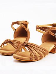 Chaussures de danse(Fuchsia Noir et Or Preto e Prateado Rose Brun Foncé) -Personnalisables-Talon Bas-Satin-Latines