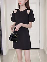 Feminino Reto Vestidinho Preto Vestido,Tamanhos Grandes Casual Moda de Rua Sólido Decote Redondo Mini Manga CurtaAlgodão Poliéster