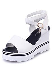 Feminino Sandálias Chanel Tira no Tornozelo Sapatos clube Couro Ecológico Primavera Verão Outono Casual CaminhadaChanel Tira no Tornozelo