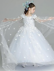 Ball Gown Floor-length Flower Girl Dress - Organza Spaghetti Straps with Appliques Lace Sash / Ribbon