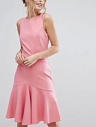 Damen Lose Etuikleid Kleid-Ausgehen Lässig/Alltäglich Einfach Street Schick Solide Rundhalsausschnitt Übers Knie Ärmellos Seide Baumwolle