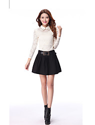 Women's High Rise Above Knee Skirts,Cute A Line Solid