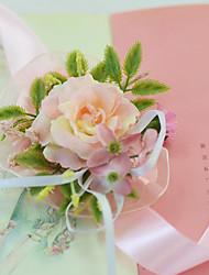 """Hochzeitsblumen Mit Hand gebunden Rosen Armbandblume Hochzeit Partei / Abend Party/Cocktail Satin Tüll 2.76""""(ca.7cm)"""