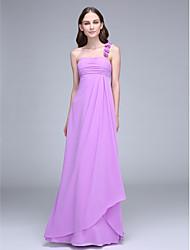 LAN TING BRIDE Ankle-length One Shoulder Bridesmaid Dress - Floral Sleeveless Chiffon