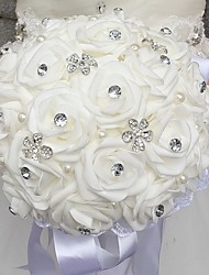 Bouquet sposa Tondo Rose Bouquet Matrimonio Perline Schiuma Strass 30cm