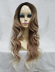 Women's Ombre Wigs Synthetic Natural Long Wavy Brown/Blonde Highlights Full Wig