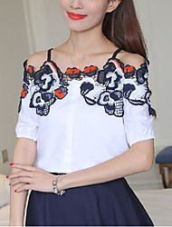 Women's Going out Casual/Daily Sexy Simple Cute Spring Fall Blouse,Embroidered Strap Short Sleeve Polyester Medium