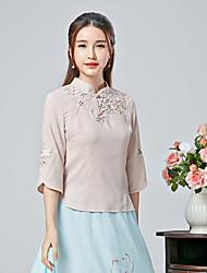 Dames Eenvoudig T-shirt,Casual/Dagelijks Bloemen Opstaand Lange mouw Katoen