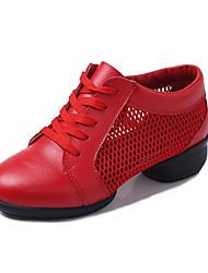 Women's Dance Shoes Tulle Dance Sneakers / Modern Sneakers Low Heel Outdoor Black/Red/White