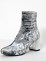 Women's Heels Spring Fall Club Shoes Fleece Dress Casual Chunky Heel Royal Blue Blushing Pink Army Green Silver