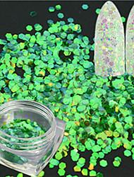 1 bottiglia arte chiodo arte scintillante verde esagonale paillette laser sottile artigianale artigianale artigianale glitter pesce scala