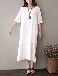 Women's Going out Loose Dress,Solid Round Neck Midi Cotton Summer Low Rise Micro-elastic Medium
