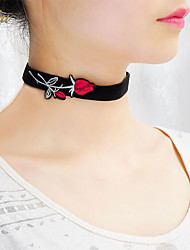 Women's Choker Necklaces Collar Necklace Scarf Necklaces Jewelry Flower Leatherette Basic Floral Bohemian Personalized Handmade Jewelry