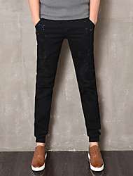 Men's Mid Rise Micro-elastic Jeans Pants,Simple Skinny Solid