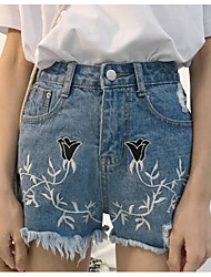 Women's High Rise strenchy Jeans Shorts Pants,Street chic Slim Wide Leg Print