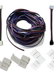 Um conjunto de tiras conectores kits completos tira para tira jumper l-forma canto conector rgb extensão cabo sem conector tira para caixa