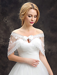 Women's Wedding Wrap Capelets Sleeveless Lace Tulle Wedding Party/Evening Flower(s) Lace Bowknot Pearls Grace Bride Shawl White