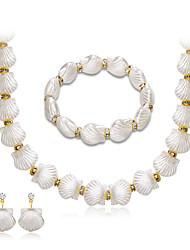Collier de perles Mode euroaméricains Perle Strass Alliage Forme Géométrique 1 Collier 1 Paire de Boucles d'Oreille 1 Bracelet Pour