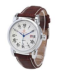 Masculino Relógio de Moda relógio mecânico Chinês Quartzo Automático - da corda automáticamente Couro Banda Prata Marrom