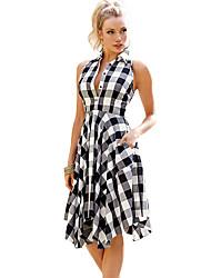 Women's Beach Holiday Loose Dress,Check Round Neck Knee-length Sleeveless Polyester Spandex Summer High Rise Micro-elastic Medium