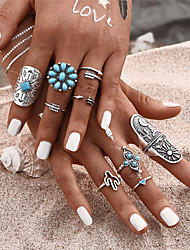 9pcs/Set Fashion Blue Stone Bohemian Ring Set Vintage Steampunk Cross Flower Anillos Ring Knuckle Rings for Women New Jewelry Accessories Gift