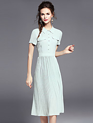 Women's Going out Holiday Simple Shirt Dress,Solid Shirt Collar Midi Short Sleeve Polyester Summer Mid Rise Inelastic Medium