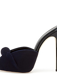 Women's Black Velvet High Heel Sandals Ladies Peep Toe Bowknot Spring Summer Slingback Wedding Office Career Party Evening Dress Stiletto Heels