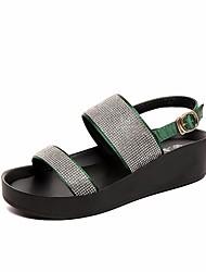 Sandales femme printemps confort pu casual vert noir