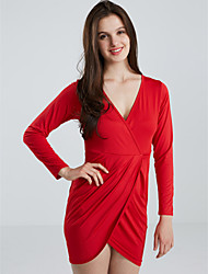 Women's Sexy Plus Size Party Cocktail V Neck Knee-length Sheath Dress