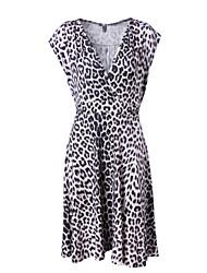 Для женщин На каждый день Простое А-силуэт Платье Леопард,V-образный вырез Выше колена Без рукавов Другое Весна Лето Со стандартной талией