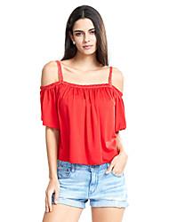 Damen Solide Street Schick Lässig/Alltäglich T-shirt,Gurt Sommer Kurzarm Rot / Schwarz Baumwolle Undurchsichtig