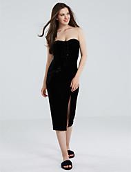 Women's Velvet|Lace up|Backless Velvet Lace up Strapless Slit Dress