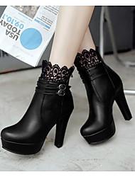 Damen Schuhe PU Frühling Komfort High Heels Für Normal Schwarz Grau