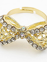 Korean Style Classic Luxury Classic Butterfly Yellow Rhinestone Women's Party Ring Gift Jewelry