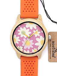 Mujer Reloj de Moda Reloj de Pulsera Reloj creativo único Reloj Casual Reloj Madera Japonés Cuarzo Cuarzo Japonés de madera Silicona Banda